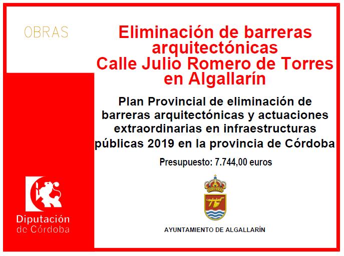 Eliminación de barreras arquitectónicas Calle julio Romero de Torres en Algallarín