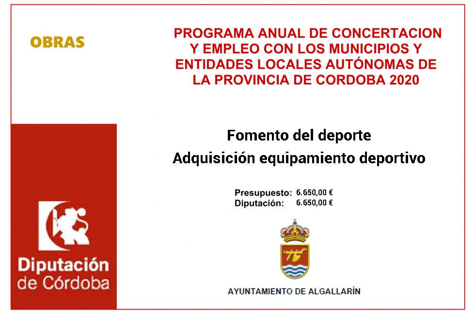 Programa Anual de Concertación y Empleo con los Municipios y Entidades locales Autónomas de la Provincia de Córdoba 2020